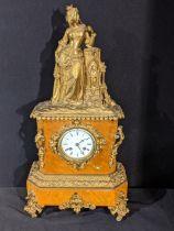 A late 19th century French ormolu mantel clock, burr walnut veneered, 8 day movement, H.57cm