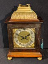 A Victorian bracket clock, mahogany cased, 8 day movement, raised on four bun feet, H.40cm