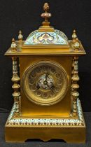 An early 20th century French blue champleve enamelled brass mantel clock, 8 day movement, H.33cm