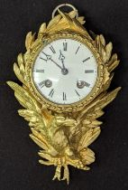 A Louis XV ormolu eagle wall clock, eight day movement, H.22cm