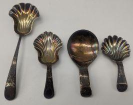 Four George III silver caddy spoons, various hallmarks