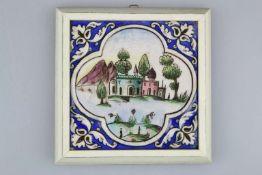 Handgeformte Bild-Kachel aus antiker Sammlung