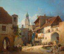 MICHAEL NEHER(1798 München 1876)Mittelalterliche Stadtansicht mit Alltagsgeschehen. 1848.Öl auf