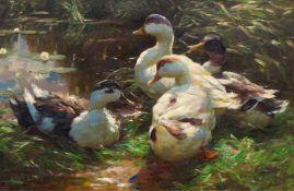 ALEXANDER KOESTER(Bergneustadt 1864–1932 München)Vier Enten an einem Teich.Öl auf Leinwand.Unten