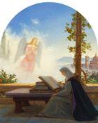 """CARL GUSTAV CARUS(Leipzig 1798–1869 Dresden)Dante, an der """"Vita Nuova"""" arbeitend, mit Blick auf"""