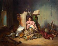 JOSEF DANHAUSER(1805 Wien 1845)Das Kind auf der Trommel. 1841.Öl auf Holz.Unten rechts signiert