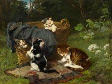 JULIUS ADAM D. J.(1852 München 1913)Vier spielende Kätzchen - die Hummel. 1886.Öl auf Holz.Unten