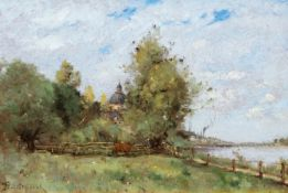 PAUL DÉSIRÉ TROUILLEBERT(1829 Paris 1900)La Loire à Saumur/ La ville de Saumur; vue prise du pont de