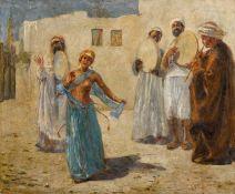 MAX FRIEDRICH RABES(Samter 1868–1944 Wien)Orientalische Musiker mit Tänzerin.Öl auf Leinwand.Unten
