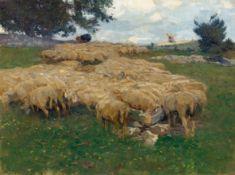 HEINRICH ZÜGEL(1850 München 1941)Schafherde auf der rauhen Alp. Rast an der Salzlecke. Um 1890.Öl