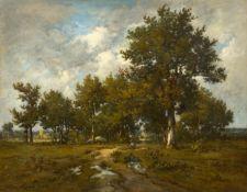 LÉON RICHET(Solesmes 1847–1907 Paris)Landschaft mit Bäuerin. 1875.Öl auf Leinwand.Unten links