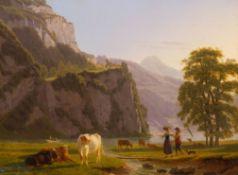 JOHANN JAKOB BIEDERMANN(Winterthur 1763–1830 Zürich)Blick auf den Lauerzersee mit weidenden Kühen,