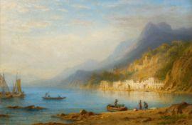 CARL MORGENSTERN(1811 Frankfurt 1893)Italienische Landschaft am Comer See.Öl auf Papier auf Karton.