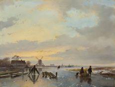 """ANDREAS SCHELFHOUT(1787 Den Haag 1870)Eisvergnügen mit """"koek und zopie"""" in der Ferne.Öl auf Holz."""