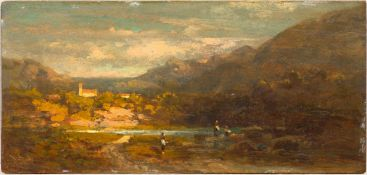 CARL SPITZWEG(1808 München 1885)Landschaft mit Flusslauf, vorne drei Staffagefiguren, hinten links