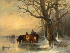 CHRISTIAN FRIEDRICH MALI(Broekhuizen 1832–1906 München)Heimtrieb der Herde. 1879.Öl auf Leinwand.