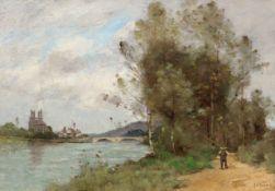 PAUL DÉSIRÉ TROUILLEBERT(1829 Paris 1900)La Seine à Mantes-la-Jolie.Öl auf Leinwand.Unten rechts