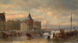 """ELIAS PIETER VAN BOMMEL(Amsterdam 1819–1890 Wien)Amsterdamer Eisvergnügen mit """"koek en zopie"""" und"""
