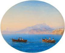 CARL MORGENSTERN(1811 Frankfurt 1893)Fischerboote vor der Küste von Sorrento. 1856.Öl auf