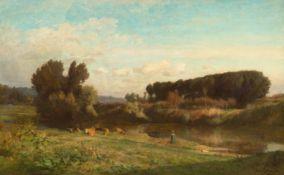 EMILE CHARLES LAMBINET(Versailles 1813–1877 Bougival)Flusslandschaft mit Bäuerin und Kühen. 1867.