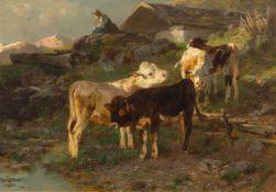 ANTON BRAITH(1836 Biberach an der Riss 1905)Hütermädchen mit Kälbern auf der Alm. 1882.Öl auf