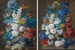 JOSEPH NIGG(1782 Wien 1863)Gegenstücke: Blumenstillleben mit Tulpen, Pfingstrosen, Malven sowie