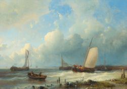 ABRAHAM HULK D. Ä.(London 1813–1897 Zevenaar)Segelschiffe vor der Küste bei aufgewühlter See.Öl