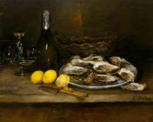 EDOUARD-JACQUES DUFEU(Marseille 1836–1900 Grasse)Stillleben mit Austern, Zitronen und Champagner.