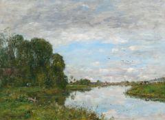 EUGÈNE LOUIS BOUDIN(Honfleur 1824–1898 Deauville)La Touques à Saint-Arnoult. 1893.Öl auf Leinwand.