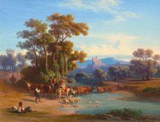 JOHANN JAKOB FREY(Basel 1813–1865 Frascati)Hirten an der Furt in der italienischen Campagna. 1856.Öl