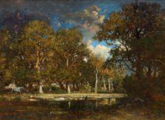 THÉODORE ROUSSEAU(Paris 1812–1867/79 Barbizon)Etang dans la forêt. La mare aux Evées.Öl auf Holz.