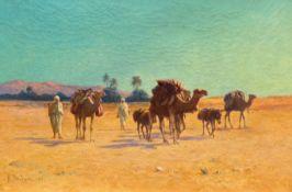 ALEXIS AUGUSTE DELAHOGUE(Soissons 1867–1953 Paris)Karawane durch die Sahara. 1907.Öl auf Leinwand.