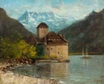 CHERUBINO PATA(Sonogno 1827–1899 Gordola)Blick auf das Château de Chillon. 1875.Öl auf Leinwand.