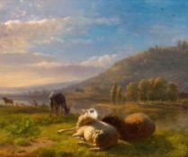 BALTHAZAR PAUL OMMEGANCK(1755 Antwerpen 1826)Schafe und Ziege auf der Weide.Öl auf Holz.Unten