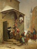 PIERRE ÉDOUARD FRÈRE(Paris 1819–1886 Écouen)Kinder verlassen im Geleit von Klosterfrauen die Schule.