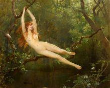 JOHN COLLIER(1850 London 1934)Nymphe im Wald. 1893.Öl auf Leinwand.Unten links signiert und datiert: