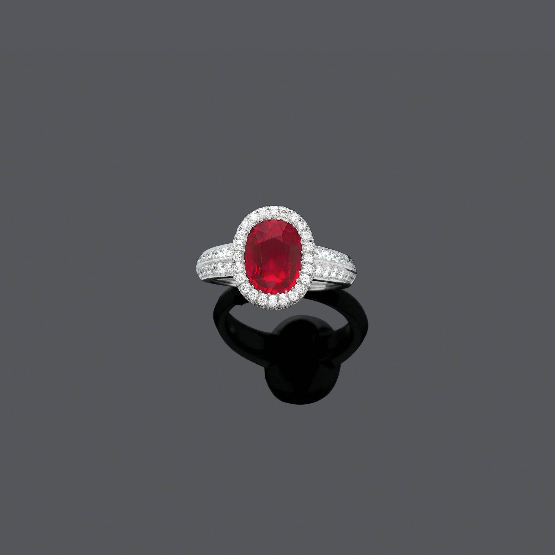 BURMA RUBY AND DIAMOND RING, BY PÉCLARD.