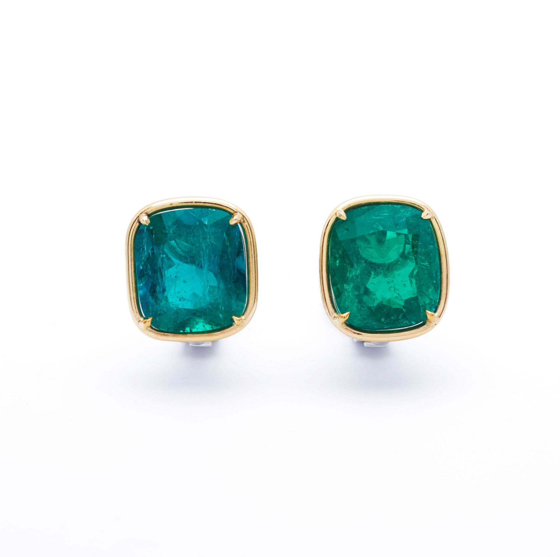 EMERALD AND GOLD EARCLIPS. - Image 7 of 7