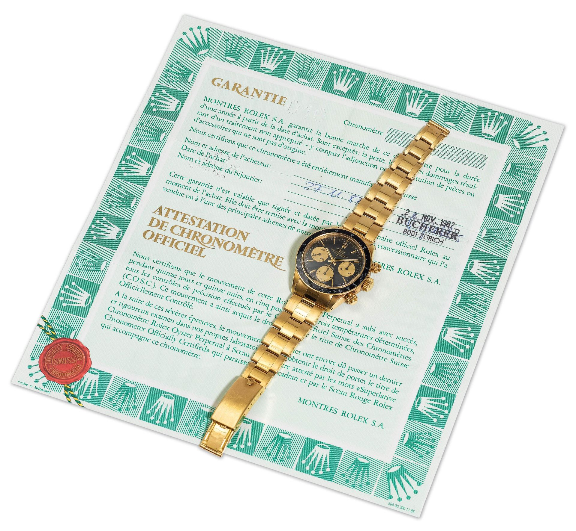 """Rolex, extremely rare cosmograph with original warranty certificate and """"Sigma"""" dial, 1987. - Image 9 of 9"""
