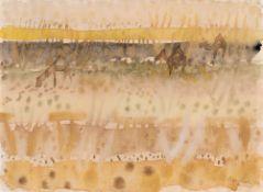 Eduard Bargheer – Recto: Südliche Landschaft mit Dromedaren – Verso: Figurenstudie