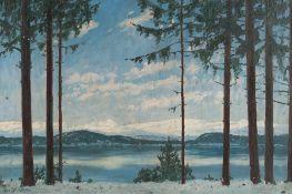 Robert Büchtger – Winterliche Landschaft am See mit Bergpanorama (Eibsee)