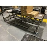 One Metal Bench on six Castor Wheels Size 3m x 0.74m Wide (does not include contents)