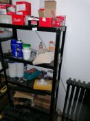 4 Tier metal shelving unit including contents as shown