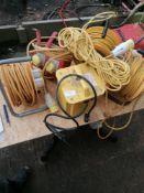 4 X 110 Volt exstension cables/reels and 110 Volt transformer