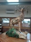 Solid Wood Statue of Stag
