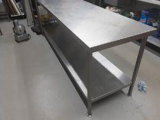 Stainless Steel Prep Table 240cm x 65cm x 90cm