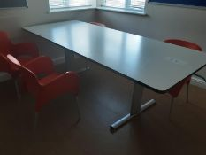 Height Adjustable Large Table (White) with 4 Chairs