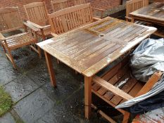 Quantity of Wooden Outdoor Furniture Set to include 2 Benches, 3 Chairs and Tables Box of Outdoor
