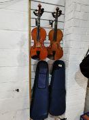 3/4 Used Violin With Case & 3/4 Used Violin With Case