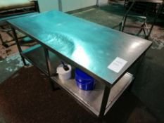 Stainless Steel Preperation Table with Shelf Under, Length 183cm x Width 91cm x Height 86cm Contents